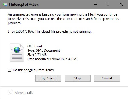 Error 0x8007016A: The Cloud File provider is not running